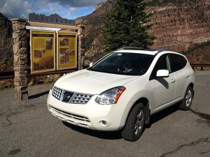 Our Nissan Rogue stands parked at the Ouray, Colorado overlook.