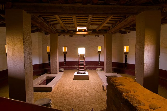 This is the Great Kiva at Aztec Ruins National Monument, New Mexico.