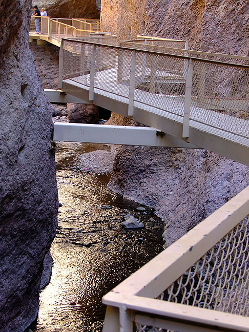 """The name """"Catwalk"""" comes from this, a steel catwalk constructed in a long section of narrows on the creek. However, it is not the only catwalk on the hike."""