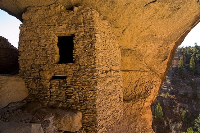 Mogollon masonry in the largest of the dwellings at Gila Cliff Dwellings National Monument, New Mexico.