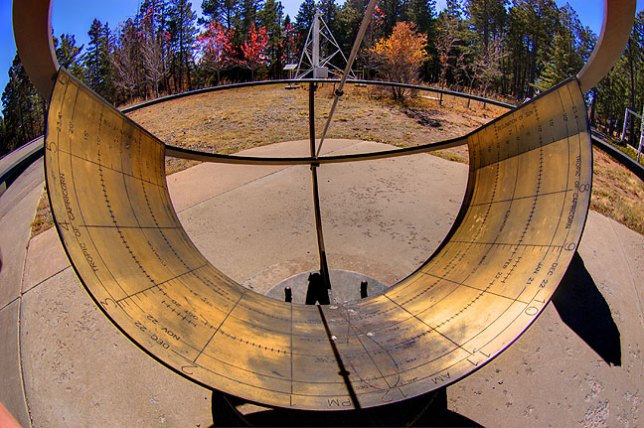 Fisheye view of the sundial at the National Solar Observatory's Sacramento Peak facility in Sunspot, New Mexico.