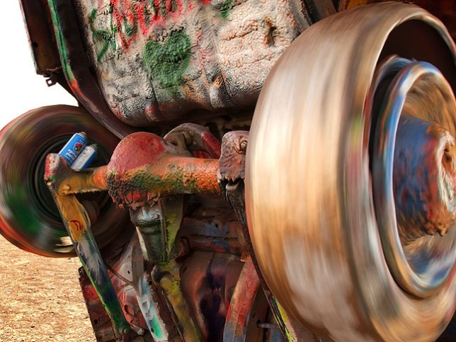 Wheels spinning on one of the Cadillacs at the Cadillac Ranch, Amarillo, Texas, fittingly symbolic of the start of our road trip.