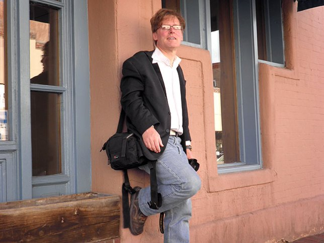 Robert poses for a portrait immediately after emerging from the second photo gallery we visited in Santa Fe, thus the satisfied but slightly stunned look.