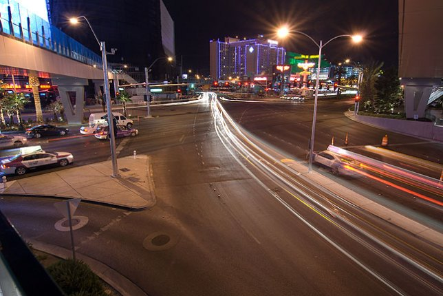 This eight-second timed exposure looks southeast from City Center, Las Vegas.