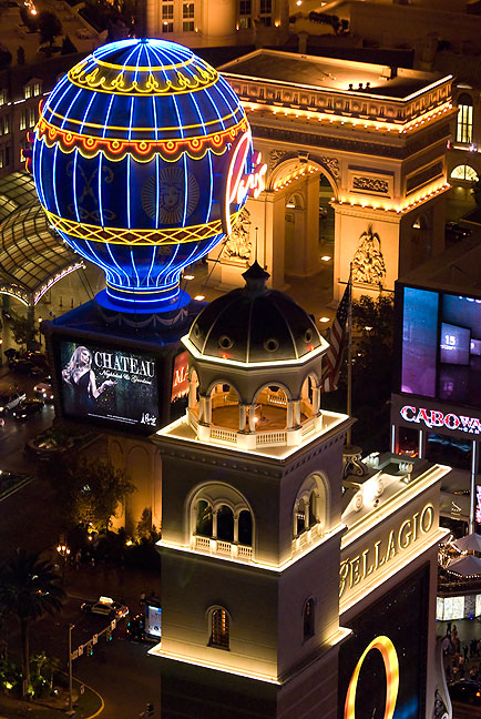 This view from above shows the entrance to The Bellagio as well as the two-thirds size Arc de Triomphe and the Montgolfier balloon at Paris Las Vegas.