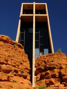 The facade of the Chapel of the Holy Cross looks over the Sedona area.
