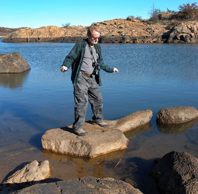 """The author """"surfs"""" Quanah Parker Lake."""