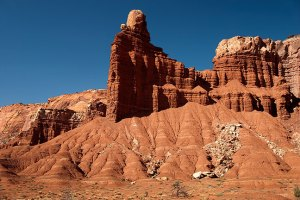 "My route took me through Capitol Reef National Park, and past this feature, named ""Chimney Rock."""