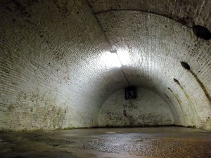 This bleak subterranean chamber is common to the architecture of Fort McHenry.