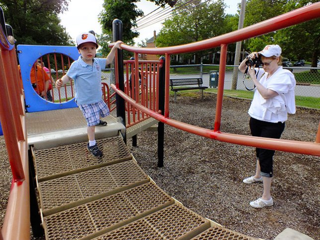 Abby photographs our grandson Paul as he plays at a Parkville, Maryland neighborhood playground.