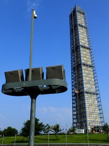 The Washington Monument wears a scaffold as it is repaired due to earthquake damage.