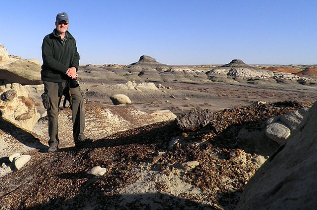 Using my gloves wadded up on a hoodoo in lieu of a tripod, I made this self-portrait on my morning hike at Bisti.