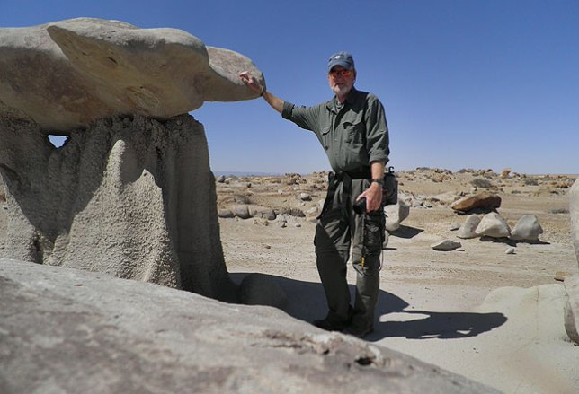 "Here is another ""propped up with my gloves"" self portrait at Bisti to establish a sense of scale."