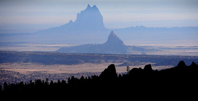 This image, made at Buffalo Pass in the Chuska Mountains just across the border into Arizona, shows Shiprock Peak in the distance.
