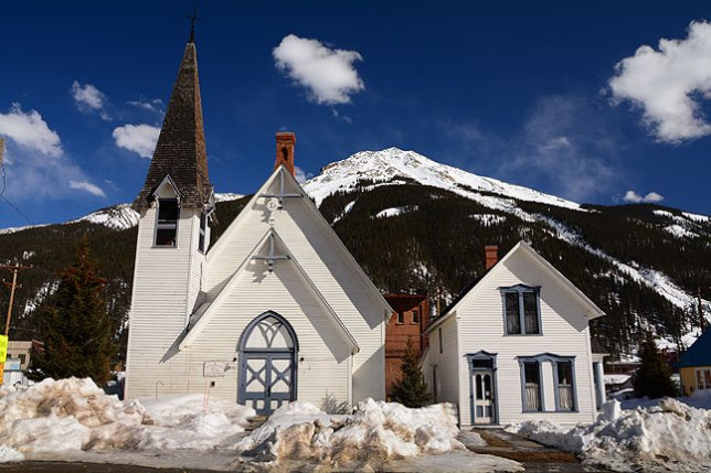 I walked the streets of Silverton for a while, which, because it was between winter ski season and summer tourist season, I had almost entirely to myself, until I found this, the First Congregational Church, built in 1876.