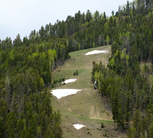 The Red River ski area has only a few patches of snow left.