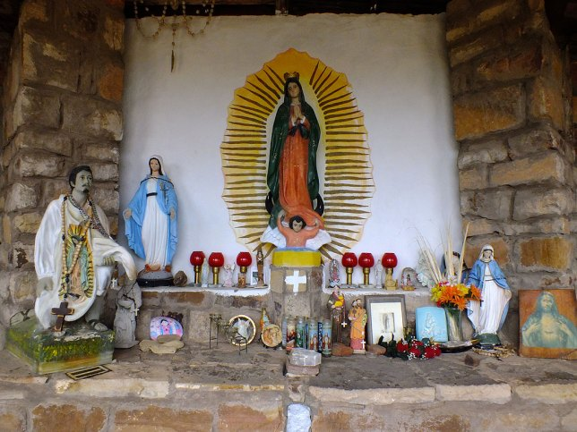 This is La Gruta de la Sagrada Familia (The Grotto of the Sacred Family) in Villanueva, New Mexico.