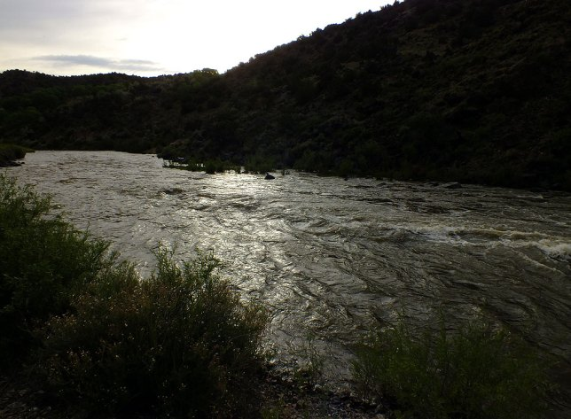Looking downstream at the Rio Grande in afternoon light, this image is very reminiscent of the first chase scene in No Country for Old Men.