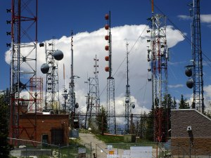 This is the antenna farm on Sandia Peak. In our home state of Oklahoma, you can't get anywhere near antennas like this because they're all on top if 1500-foot towers.