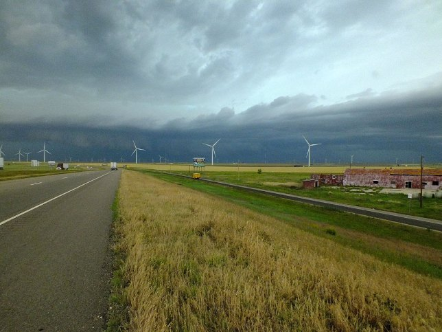 We approached a severe thunderstorm in the Texas Panhandle, and later took shelter from it.
