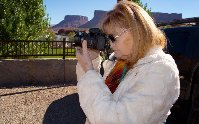 Abby photographs the Moab Museum of Film and Western Heritage at Red Cliffs Lodge on a beautiful morning.