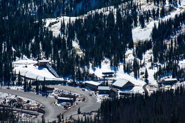 This image from Lobo Overlook shows Wolf Creek Ski Area. When Abby and I go to the mountains, she has to put up with stories of many ski trips years ago.