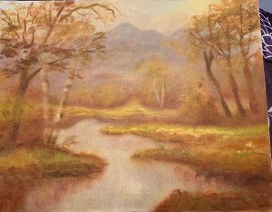 Painting of river running through a forest.