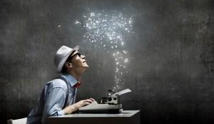 Writing seeing stars rise from typewriter