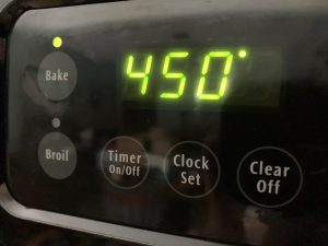 Oven temperature displaying 450.