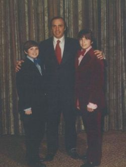 Levy with Howard Fisher's twin sons at their bar mitzvah.