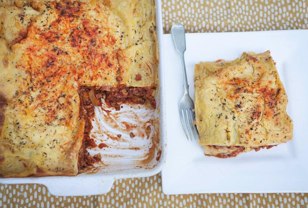 vegan lasagne with red onion squash