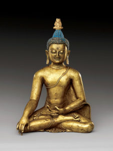 Sculpture of Shakyamuni Buddha touching the earth at the moment he reached enlightenment. 11th-12th century, Central Tibet. Brass with colored pigments. Photo courtesy of The Met.
