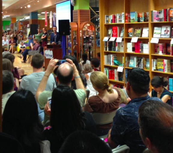 A crowd mobbed Book People, Austin, for Hosseini's appearance.