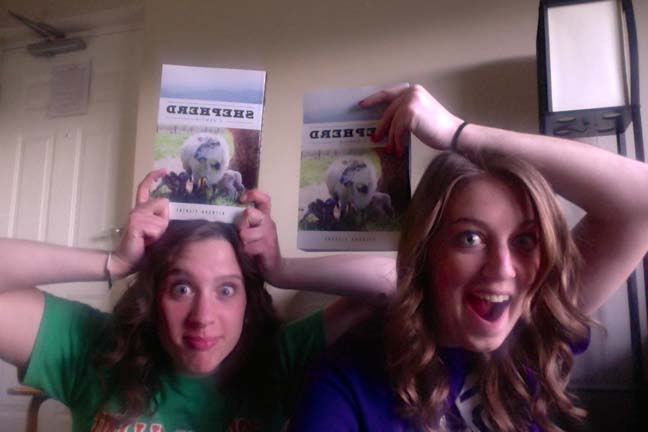 [Paige and Haley celebrate as Amazon.com delivers my book early.]