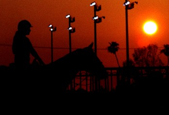 As the sun sets behind her, excercise rider Elena Aquino is silhouetted against a red sky as she waits between races recently at the Los Alamitos race track in Los Alamitos. Her horse is 5-year-old, Sir ByeBye.