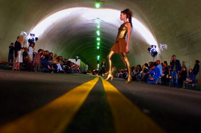 A model struts her stuff during the Michelle Mason fashion show in the 2nd Street Tunnel, Saturday evening in downtown L.A.