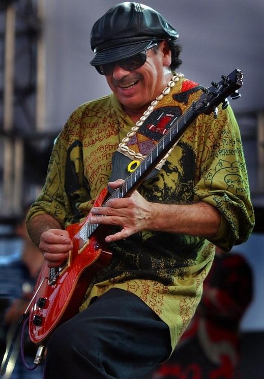 Carlos Santana rocks during his set at Wango Tango, Saturday at the Rose Bowl in Pasadena