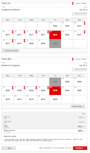 Qantas Fare Table