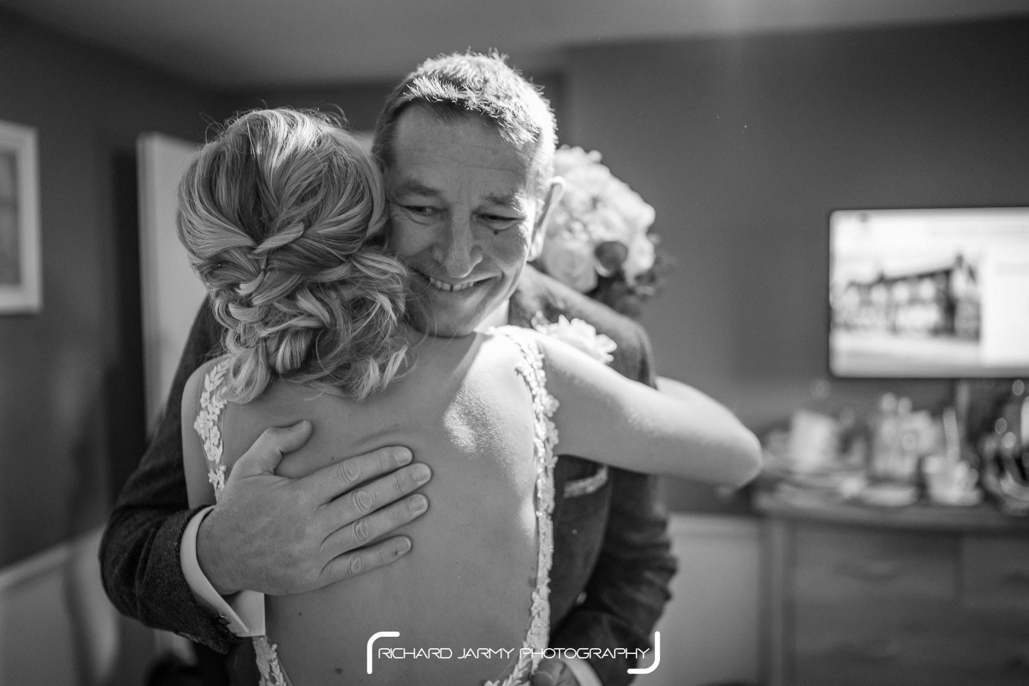 Tegan & Mitch - Titchwell Manor - Bride & Dad Hug