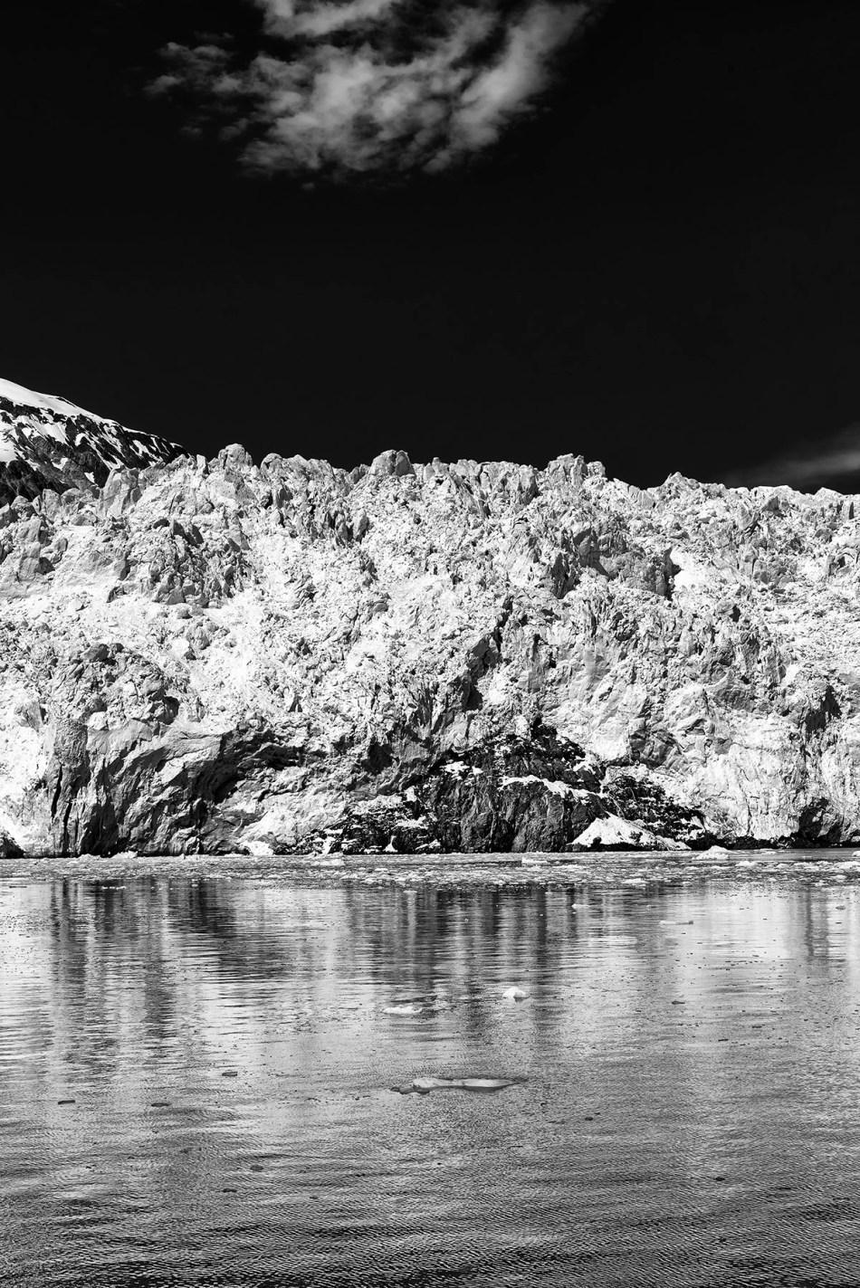 Aialik Glacier snout showing the bedrock beneath.