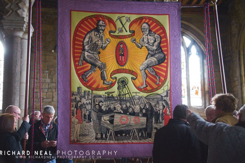 Grayson Perry Banner Unveiling Durham Cathedral (1)