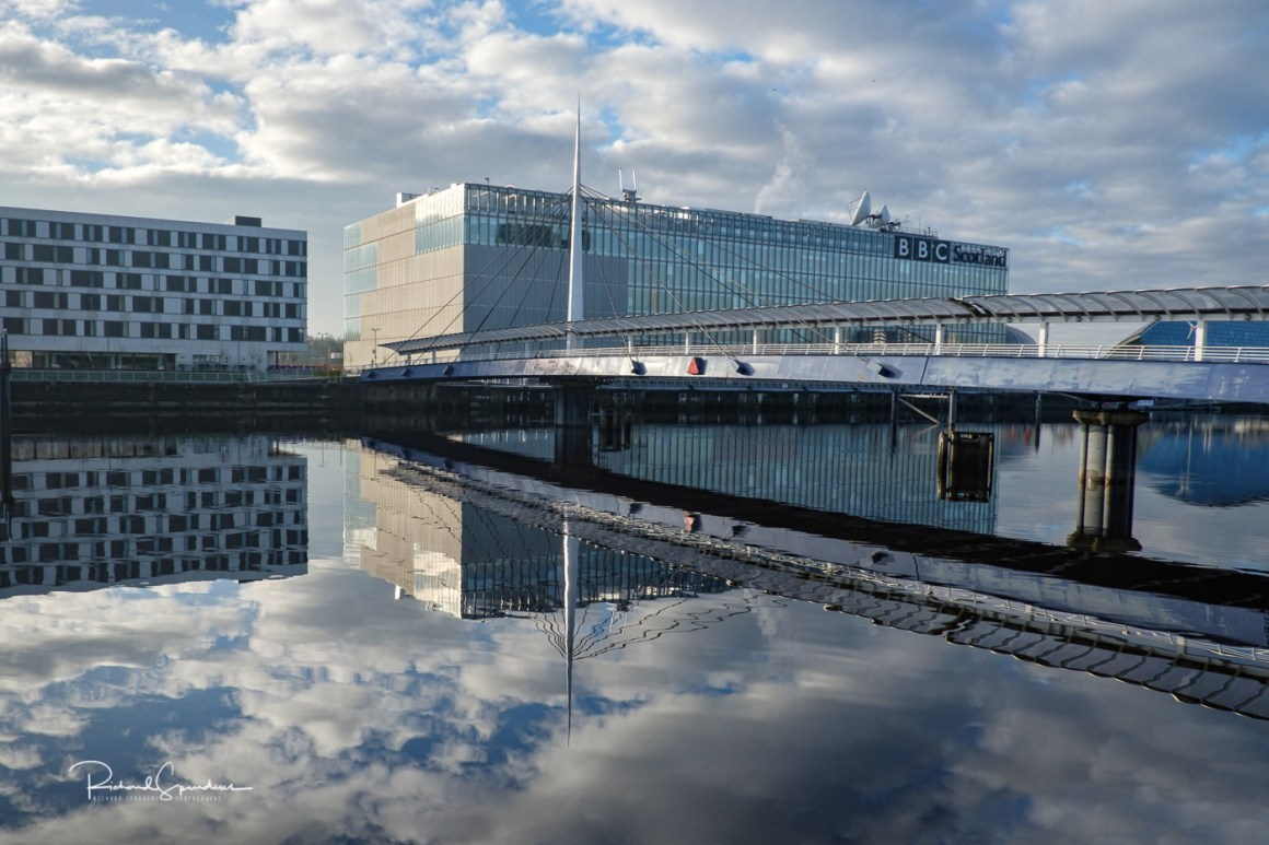 image shot across the river clyde showing the bbc building