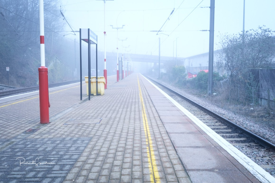 image shot at bradford foster square station on a mist april morning