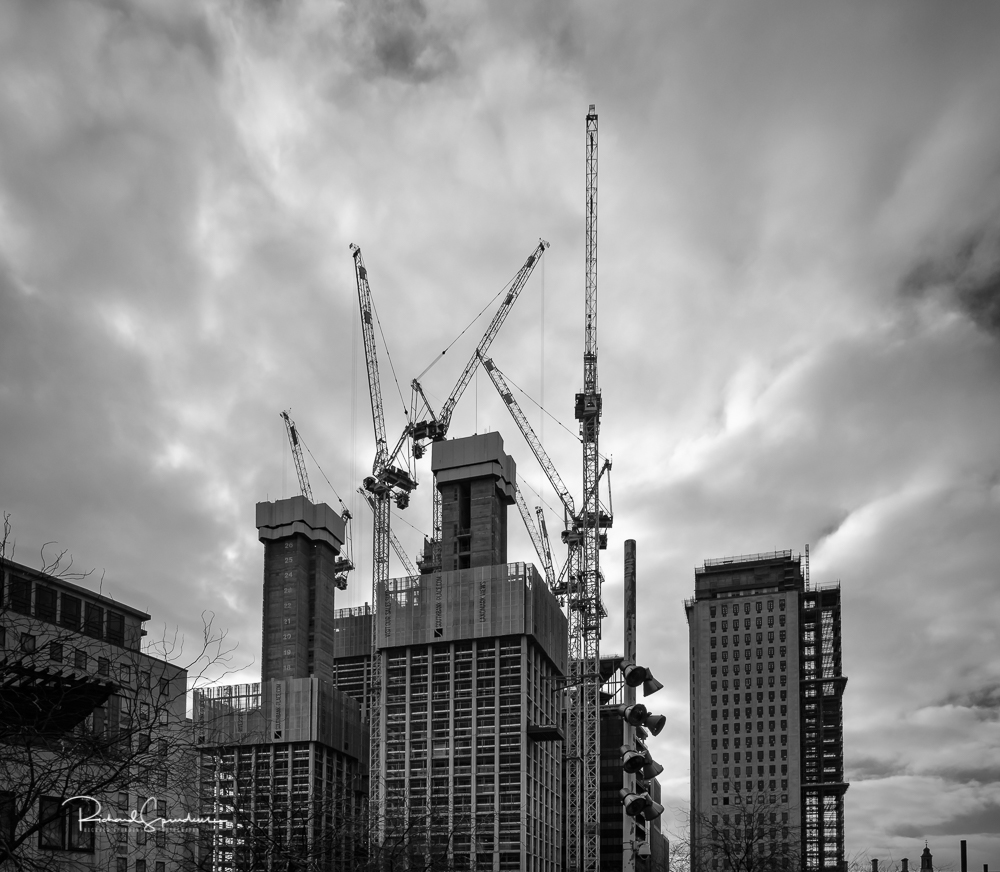 image showing the new towers been constructed surrounded by the tower cranes reaching up to the sky, A visit to the Haywood Gallery at the Southbank center