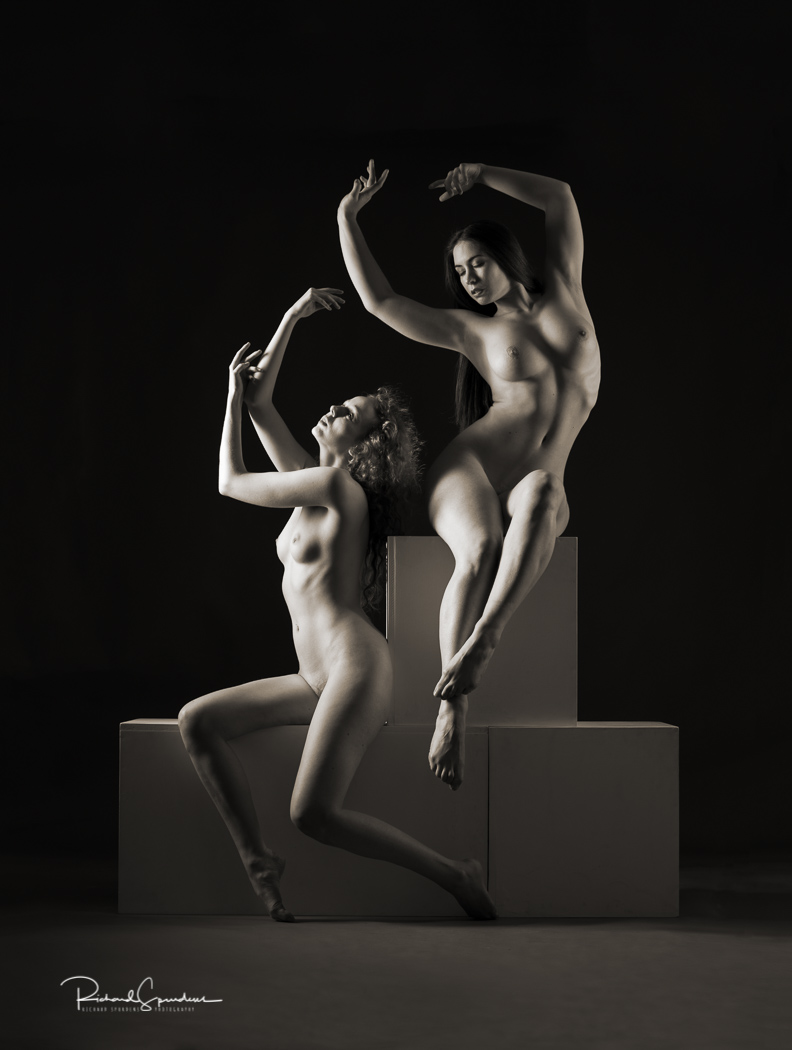 Image of elle beth and Gem using posing block to make artistic nude shapes