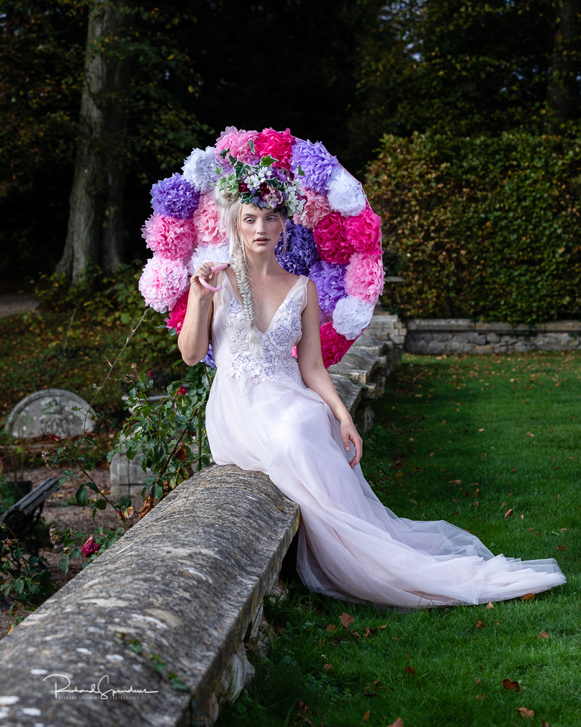 Image showing model Olivia Harriet and the floral umbrella