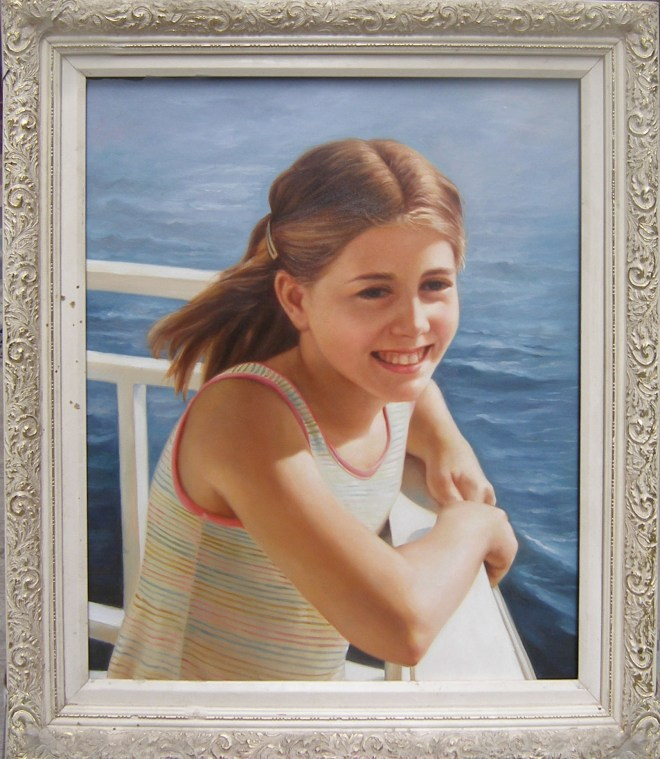 Oil Reproduction of Girl by Water