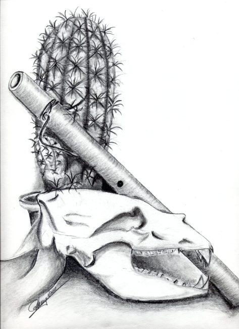 Cactus, Flute and Skull still life