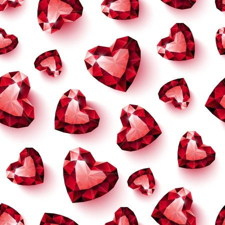 Red Crystal Hearts Background