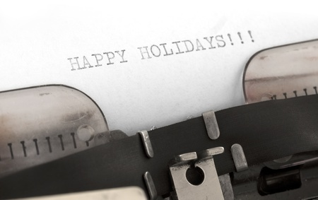 Happy Holidays in typewriter